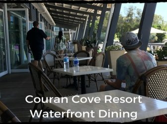 Waterfront dining overlooking the marina at Couran Cove
