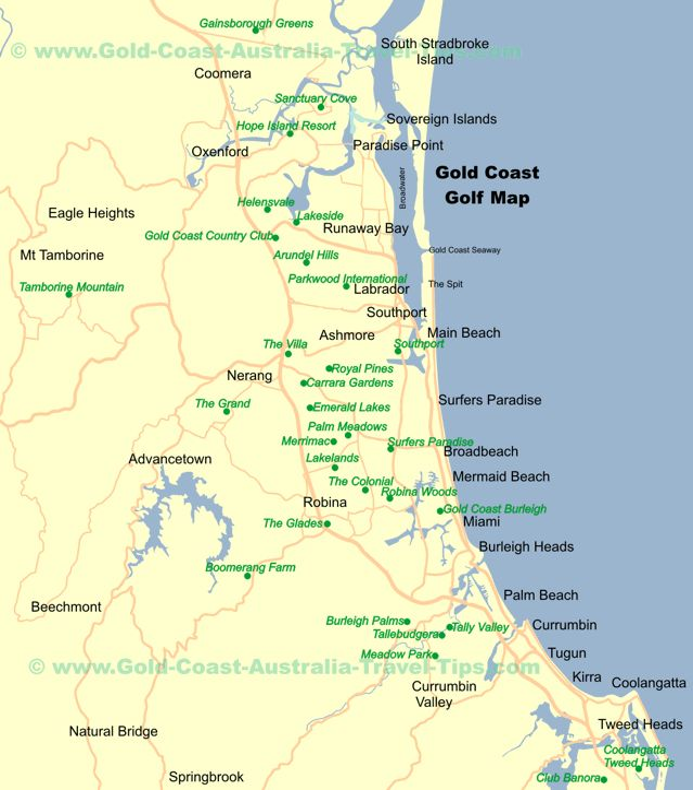 Gold Coast Golf Courses Map