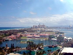 Aerial view of Sea World Gold Coast looking towards Main Beach and Surfers Skyline