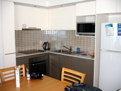 Artique Resort Apartments, kitchen in one bedroom apartment