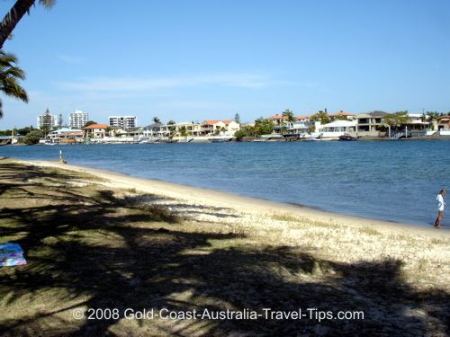 Budds Beach looking across Nerang River to Chevron Island