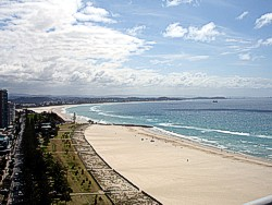 Looking at Coolangatta Beach towards Kirra. Gold Coast Airport is behind the beach strip in the distance.