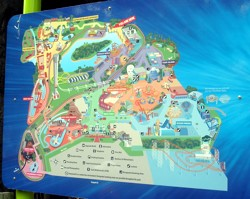 Dreamworld Gold Coast theme park map on a sign in the park.