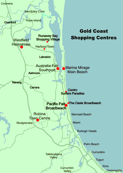 Map Of The Gold Coast showing major shopping centres