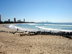 Gold Coast Beaches looking towards Surfers Paradise.