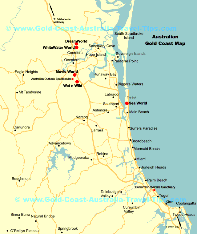 Gold Coast Theme Park Map Showing Major Gold Coast Theme Parks