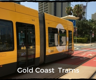 Distinctive yellow modern trams on Gold Coast