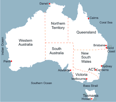 Map of Australia showing states, territories and capital cities.