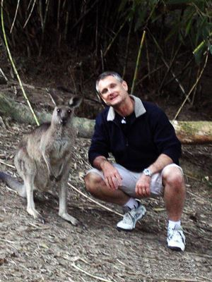 Posing with Kangaroo at Currumbin.
