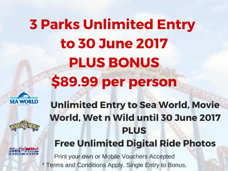 Summer Pass + Bonus for unlimited entry to Sea World, Movie World and Wet n Wild to 30 June 2017.