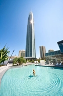 Q1 Gold Coast Resort & Spa - view from swimming pool to tower.