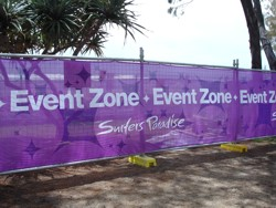 Schoolies event zone is an area of the Surfers beach that is cordoned off for the sole use of schoolies.