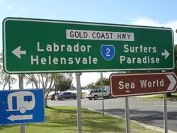 Road sign to Sea World Gold Coast