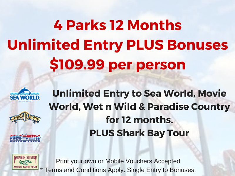 Movie World, Sea World and Wet n Wild and Paradise Country 4 Park Unlimited Entry Top Deal.