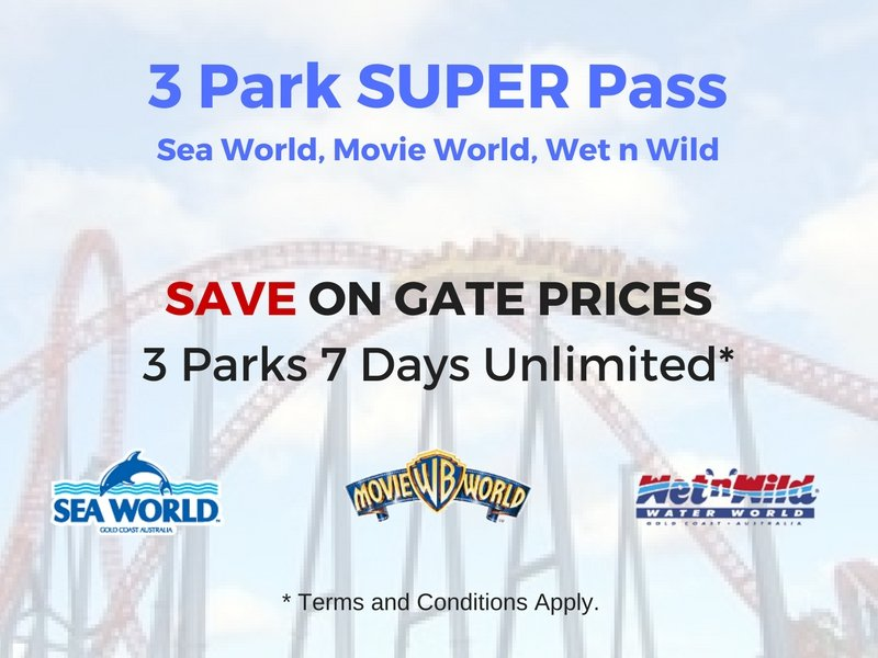 7 Day Super Pass. Unlimited entry to Sea World, Movie World and Wet n Wild for 7 consecutive days.