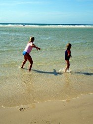 Australian school holidays are a great excuse to go to the beach. Coolangatta beach during school holidays