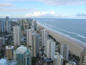 Broadbeach aerial view towards Surfers Paradise