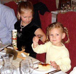 Christmas Lunch with kids in a restaurant.