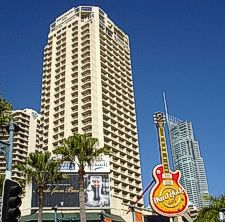 Mariott Courtyard Hotel and Q1 In background in Surfers Paradise.