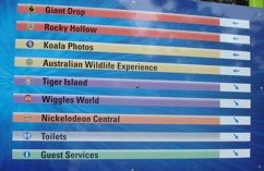 Dreamworld attractions sign posted around the park.