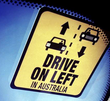 We drive on the left in Australia.