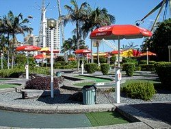 Mini Golf at Surfers Paradise Adrenalin Park. For those who just cannot face the Vomatron!