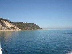 First views of Moreton Island sand on way to Tangalooma