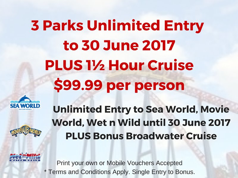 Summer Pass + Cruise for unlimited entry to Sea World, Movie World and Wet n Wild to 30 June 2017.