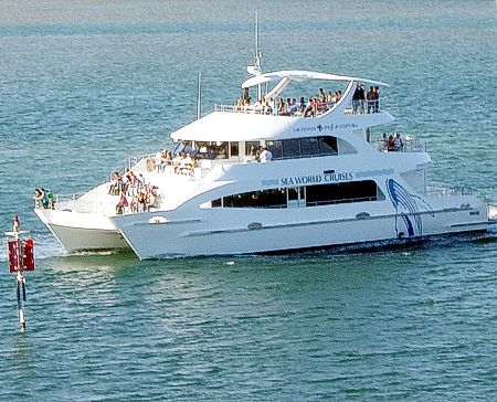 Seaworld Gold Coast Boat on Broadwater for afternoon Sunset cruise.
