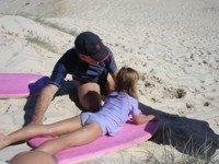 Serious sand sledding at South Stradbroke Island
