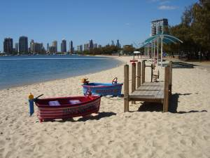 Southport Beach play boats for the kids