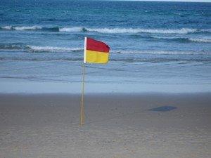 Surf Life Saving Flag on Beach in Gold Coast