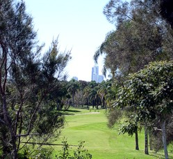 Surfers Paradise beyond golf course