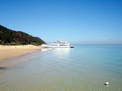 Tangalooma Island Ferry on the sand.