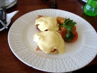 Eggs Benedict for breakfast at Northcliffe SLSC
