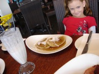 Kids pancakes and milkshake for breakfast! What more could a kid want?